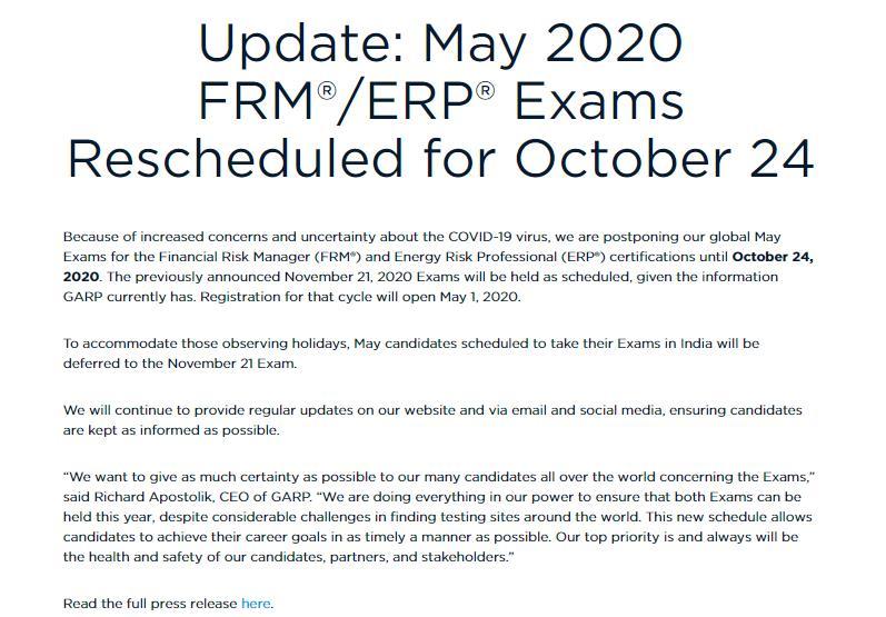 重要通知:2020年5月FRM考试延期到10月24日!